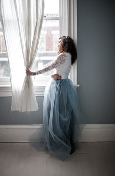 """Dusty blue tulle - one of this year's """"it"""" colors for weddings - photo by Mary Claire Photography, Styling by Amber Reverie"""