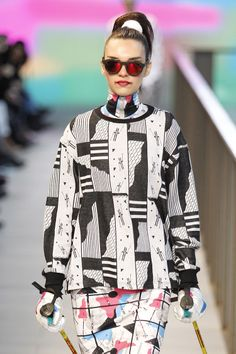 """Pattern Design inspired in the winter sports lifestyle from the 80s """"Hot Snow Patrol"""", Ready to Wear Collection by Krizia Robustella for 080 Barcelona Fashion Week."""