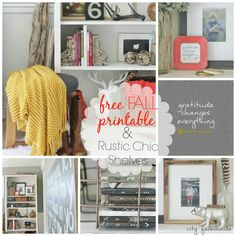 Free Fall Printable-Gratitide Changes Everything & Rustic Chic Shelves City Farmhouse