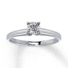 Certified Diamond Ring 1/3 carat Round-cut 14K White Gold  Still simply beautiful to me.