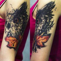 owl abstruct tattoo