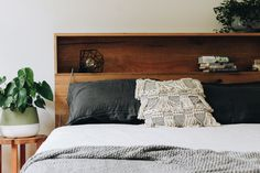 al and imo handmade timber platform bed frame with bookshelf bed head of Timber Bed Frames, Timber Beds, Wood Beds, Bookshelf Headboard, Bed Shelves, Timber Furniture, Bed Furniture, Custom Furniture, Rustic Wood Walls