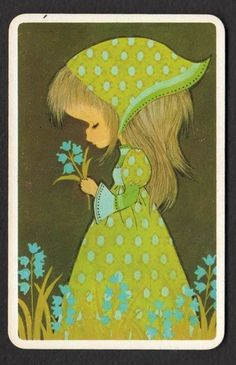 Vintage Swap Card Pretty Girl with Flower BLANK BACK | eBay