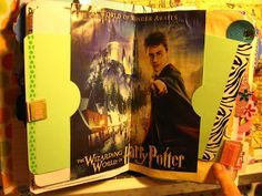 How to use a page from a magazine in a junk journal. I cut this page out with Harry Potter and double side sticky taped it to the center pages of the signature...leaving the right and left sides open to make them pockets.