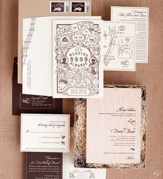 Ceci New York     Another spectacular design from  Ceci New York , this invitation suite was inspired by a traditional farmer's almanac.