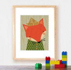 Petit Collage: Large Unframed Print on Wood, Shy Fox