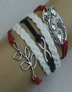Branch, Infinity, Birds Wrap Bracelet – Black/Red/White  $15.00  Fashion Jewelry at Modest Prices - www.gomodestly.com