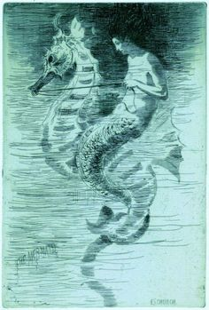 "1887, ""Mermaid Riding A Seahorse"" - Etching by Frederick Stuart Church (1842–1924). Plate 6 in the book ""Choice Etchings"" (London: Alexander Strahan, 1887)."