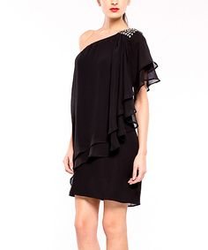 Take a look at this Black Cancun Asymmetrical Tier Dress on zulily today!