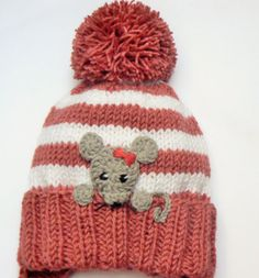 Baby Girls Hat Mouse Hat Knit Earflap Hat Cute Baby Hat by 2mice