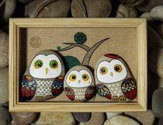 家居摆件原创手绘石头 猫头鹰一家摆件 个性创意生日礼物节日礼品-淘宝网