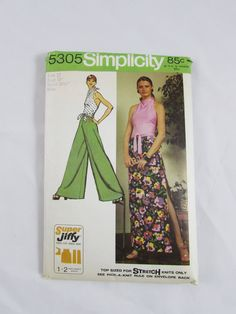 Woman's Halter Top, Long Skirt and Wrap Pants Vintage Simplicity Pattern 5305 - Uncut by NeedleandFootSews on Etsy