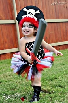 I'm thinking maybe one of my girls can be Captain Hook for Halloween next year and the other can be Tinkerbell. This pirate tutu set would be perfect for one of them! Now, I need to talk my sister into letting her little boy be Peter Pan :)