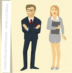 People and professions vector set 03