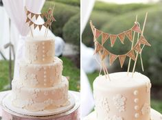 Wedding cake with lace accents and burlap bunting! // photo by Sarah Bray Photography