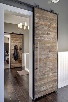 INTERIOR- The doors provide privacy and reduce noise between premises. If it comes to a smaller space, sliding doors are suitable option, because the opening and closing take up less space than con… Barn Door Designs, The Doors, Entry Doors, Front Doors, Patio Doors, Front Entry, Garage Doors, Industrial House, Industrial Design