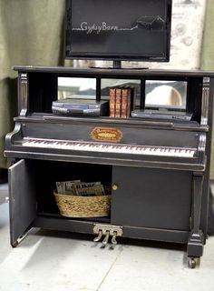 Repurposed Piano with many options for functionality. Would ONLY do this if the piano was unusable anyway. Furniture Projects, Furniture Making, Home Projects, Diy Furniture, Restoring Furniture, Affordable Furniture, Luxury Furniture, Furniture Makeover, The Piano