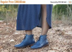 Sale 20% Off Porto Blue Leather Booties Leather Boots by BangiShop