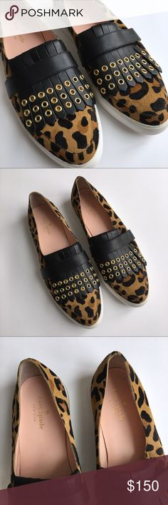 "Kate Spade Courtney Calf Hair Leopard Slip-Ons Kate Spade Courtney Cheetah-print Calf Hair & Leather Slip-on Sneakers.   Classic kiltie fringe gets a modern, industrial update with golden grommets on the vamp of a street-chic slip-on sneaker set on a contrast platform sole for a retro finish. 3/4"" platform. Slip-on style. Genuine calf hair (Vietnam) and leather upper/leather lining/rubber sole.   Only tried on, not actually worn out. Excellent  condition! No box. kate spade Shoes Flats…"