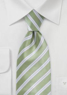 Striped Tie in Citron Green