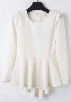 White Round Neck Long Sleeve Ruffles Blouse
