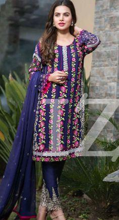 Royal Blue Embroidered Chiffon Dress