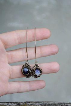 Amethyst long wire earrings  OOAK by Ianira on Etsy
