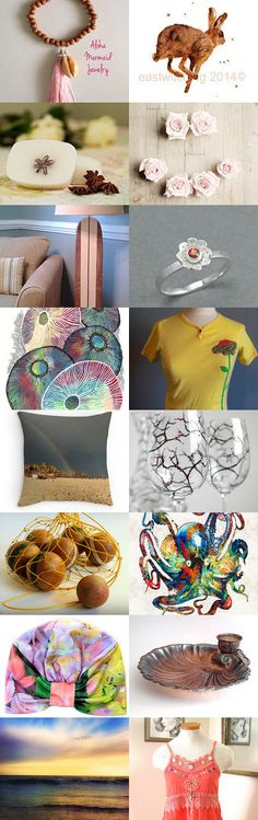 Etsy Spring Summer by Patrick Vieira on Etsy--cherry blossom wine set colorful coral reef artwork colorful octopus art rad flower vintage yellow tee handmade vanilla soap hawaiian cowry shell jewelry hippie babydoll tank hydrangea hat turban colorful nusery art girly art roses petanque vintage french beach pink tassel cowry bracelet rainbow beach throw pillow seashell candle holder spring summer jewelry sterling silver orange ring surfboard lamp shade surreal ocean photo watercolour hare…