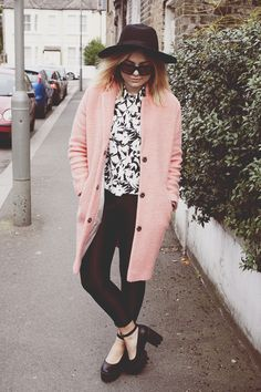 long pink coat + black