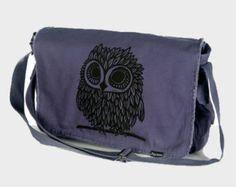 Owl on Denim Blue Messenger Bag