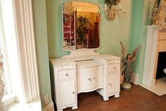 Vanity shabby chic White Distressed by VintageChicFurniture