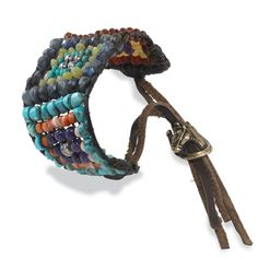 Big Sky Beaded Bracelet.  A hand-loomed mosaic of beads: turquoise, orange spiny oyster shell, amethyst, horn with brass horseshoe charm closure