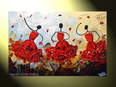 """Ballerinas!   Original Abstract Dancers Red Dress Painting, Textured Palette Knife Painting, Contemporary Music Dance"""" -Christine Kainock."""