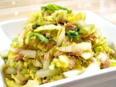 Easy Mentsuyu Sesame Salad with Napa Cabbage and Tuna Canned Salmon Recipes, Veg Recipes, Cooking Recipes, Can Salmon, Napa Cabbage, Chinese Cabbage, Potato Salad, Seafood, Vegetables