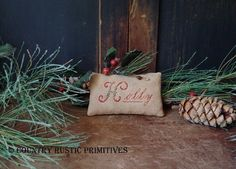 Items similar to Primitive Holly Cupboard Keep Cross Stitch E Pattern PDF on Etsy Primitive Crafts, Primitive Christmas, Country Christmas, Cross Stitch Christmas Ornaments, Christmas Cross, Merry Christmas, Xmas, Cross Stitch Samplers, Projects To Try