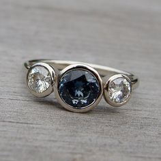 fair trade sapphire, moissanite, recycled white gold ring....Oh.My.Dear.