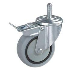 Ruedas Giratoria De Goma Gris  Materiales de las ruedas: núcleo de PP con la rueda de TPR  Tamaño: 80 x 32 mm; 100 x 34 mm; 125 x 37 mm; 160 x 40 mm; 200 x 50 mm  Capacidad de carga: 70kg-150kg  Tipo de rodamiento: rodamiento de rodillos  Tipo Opcional: Rígido, placa giratoria, roscado, orificio del tornillo