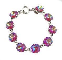 Amazon.com: Catherine Popesco Silver Plated 7.5 inch Blue Ruby Swarovski Crystals Link Bracelet: Catherine Popesco: Jewelry