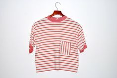 Vintage Red and White Stripped Cropped Tshirt Crop Top