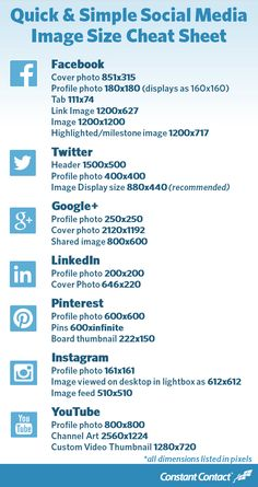 2014 Social Media Image Size Cheat Sheet | Constant Contact Blogs: Keeping up Appearances.:)