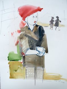 by Zosia Noga, from series: Boy with a piece of bread, wtaercolour and pencil on paper, Piece Of Bread, Pencil, Paintings, Paper, Drawings, Anime, Art, Art Background, Painting Art