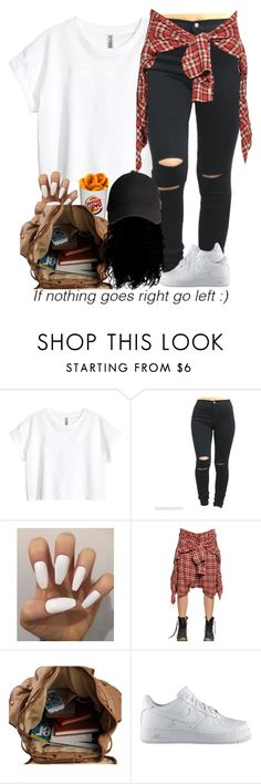 """""""Back to school outfit?? 9-1-15"""" by asilversmile ❤ liked on Polyvore featuring H&M, R13, KING and NIKE"""