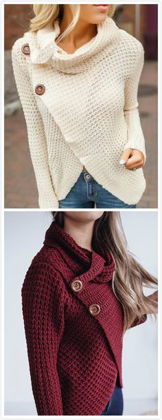 This sweater is perfect for you. With cross front design, long sleeves and rollneck, this sweater outerwear features two button design. Wear it with jeans would be great!