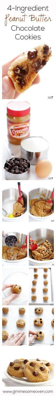4-Ingredients Peanut Butter Chocolate Cookies