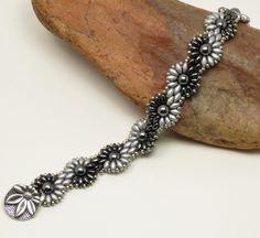 SUPERDUO DAISY CHAIN Bracelet-Silver-Gunmetal-Hematite-Czech Glass-Flower Bracelet-Spiral Bracelet-(SD68) by CinfulBeadCreations on Etsy