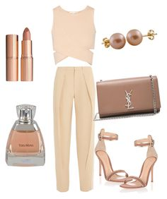 """Nude colors everywhere"" by miakfashion ❤ liked on Polyvore featuring Jonathan Simkhai, Chloé, Gianvito Rossi, Yves Saint Laurent, Charlotte Tilbury, Splendid Pearls and Vera Wang"