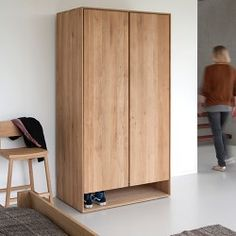 The simple Scandinavian lines of the Nordic oak wardrobe from Ethnicraft make a wonderfully stylish storage solution for any home