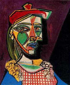 Woman in beret and checked dress - Artist: Pablo Picasso Completion Date: 1937 Style: Surrealism Period: Neoclassicist & Surrealist Period Genre: portrait Tags: female-portraits, Marie-Thérèse Walter