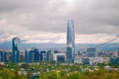Providencia, Costanera Center.  Santiago de colores intensos.  Vista desde Cerro San Cristobal, Santiago de Chile