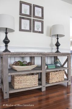 An x media console build inspired and modified from the X Console table by Ana White. Includes tips of achieving same stain finish and modifications made.